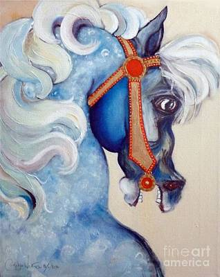 Giclee Mixed Media - Blue Carousel by Carolyn Weltman