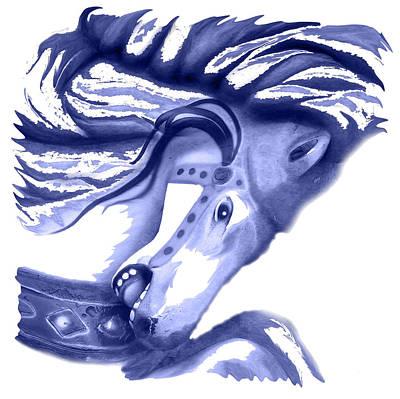 Blue Carrousel Horse Art Print
