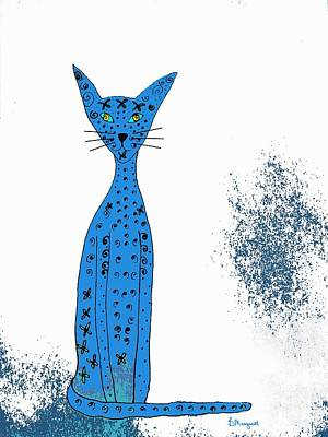 Drawing - Blue Cat by Barbara Moignard