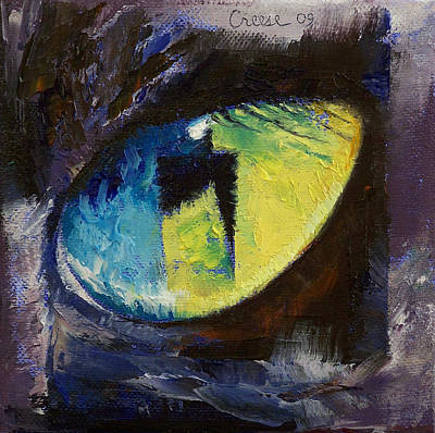 Surrealistic Painting - Blue Cat Eye by Michael Creese