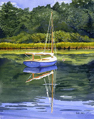 Cat Boat Painting - Blue Cat by Heidi Gallo
