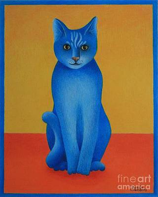 Blue Cat Art Print by Pamela Clements