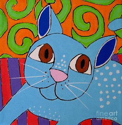 Blue Cat Art Print by Susan Sorrell