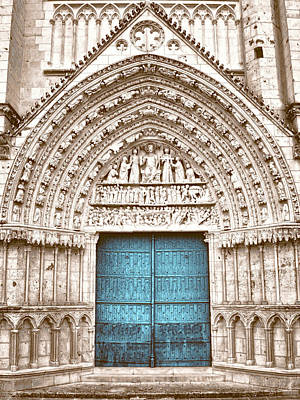 Photograph - Blue Cathedral Door Poitiers by Menega Sabidussi
