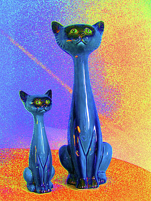 Photograph - Blue Cats Still Life  by Margaret Saheed