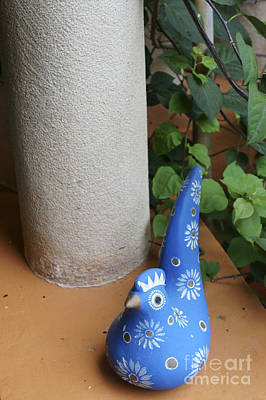 Photograph - Blue Ceramic Bird Mexico by John  Mitchell