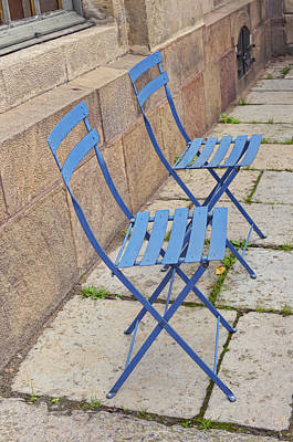 Blue Chairs 2 Stockholm Sweden Art Print by Marianne Campolongo