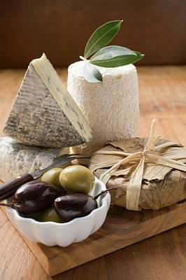 Blue Cheese, Goat's Cheese And Olives Art Print