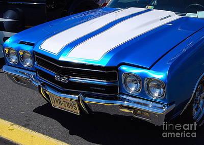 Photograph - blue Chevelle by Mark Spearman