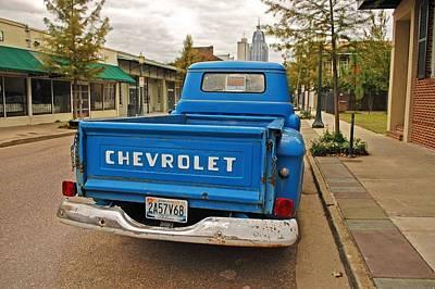 Digital Art - Blue Chevy Tailgate by Michael Thomas