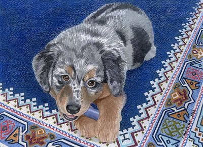 Puppy Drawing - Blue Chew by Debbie Stonebraker