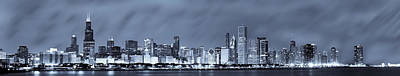 White Photograph - Blue Chicago Skyline by Sebastian Musial