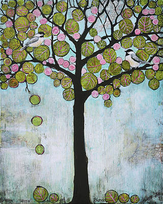 Birds Mixed Media - Blue Chickadee Tree by Blenda Studio