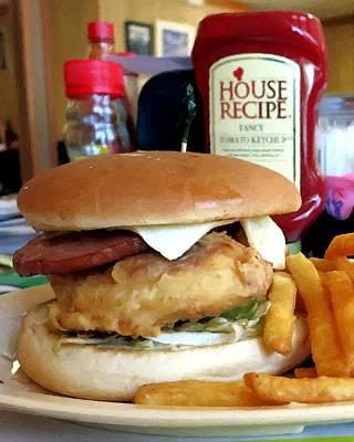 Sandwich Mixed Media - Blue Chicken by Barry Spears