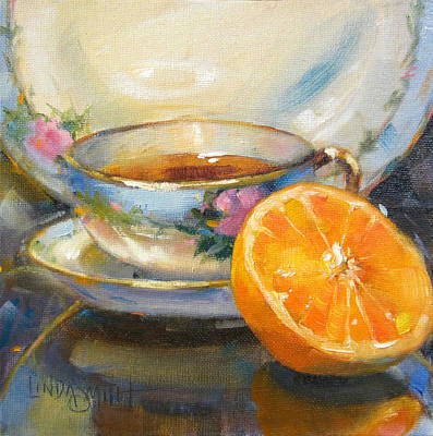 Blue China And Orange Print by Linda Smith