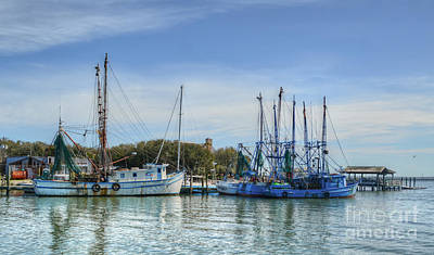 Photograph - Blue Chinese Shrimping Boats by Kathy Baccari