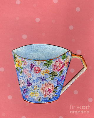 Painting - Blue Chintz On Pink by Tamyra Crossley