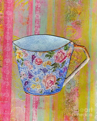Painting - Blue Chintz On Stripes by Tamyra Crossley