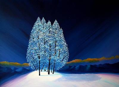 Pine Trees Painting - Blue Christmas #6 by Reggie Hart