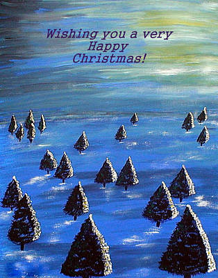 Painting - Blue Christmas Forest by Sandy Wager