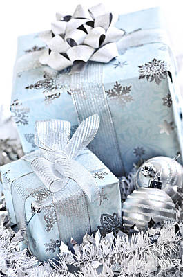 Giving Photograph - Blue Christmas Gift Boxes by Elena Elisseeva