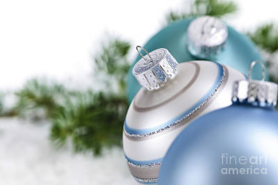 Baubles Photograph - Blue Christmas Ornaments by Elena Elisseeva