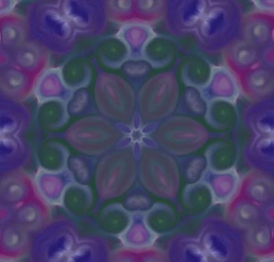 Blue Circle Mandala Art Print by Karen Buford