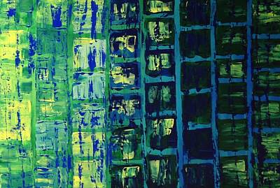 Art Print featuring the painting Blue City 2 by Linda Bailey