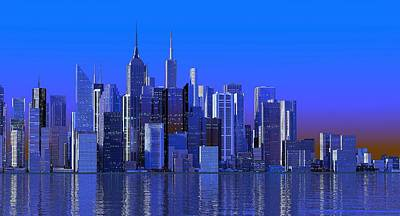 Digital Art - Blue City by Louis Ferreira
