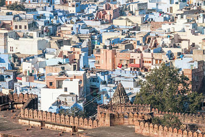 Blue City Seen From Mehrangarh Fort Art Print by Tom Norring