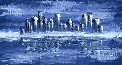 Abstract Skyline Digital Art Rights Managed Images - Blue City Royalty-Free Image by Svetlana Sewell
