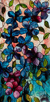 David Kennedy Glass Art - Blue Clematis by David Kennedy