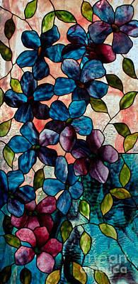 Uroboros Glass Glass Art - Blue Clematis by David Kennedy