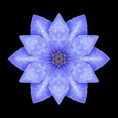 Blue Clematis Flower Mandala Art Print by David J Bookbinder