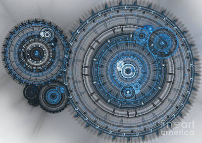 Blue Clockwork Machine Print by Martin Capek