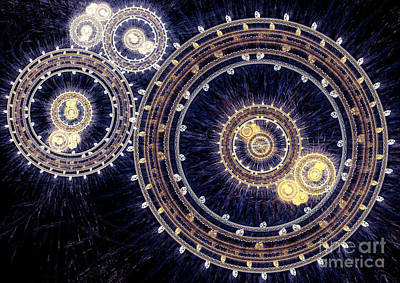 Digital Art - Blue Clockwork by Martin Capek
