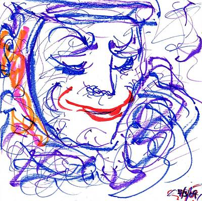 Abstract Expressionism Drawing - Blue Clown by Rachel Scott