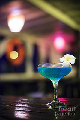 Blue Cocktail Drink In Dark Bar Interior Art Print