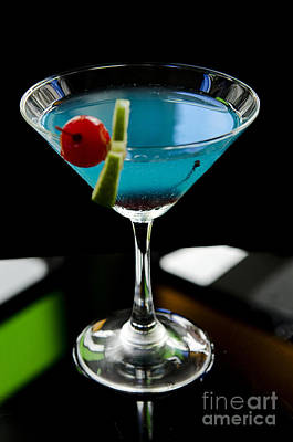Photograph - Blue Cocktail With Cherry And Lime by Jacek Malipan