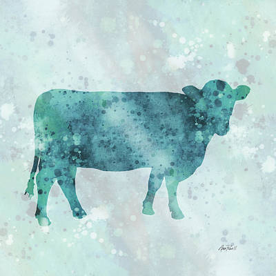 Digital Art - Blue Color Splash Cow by Ann Powell
