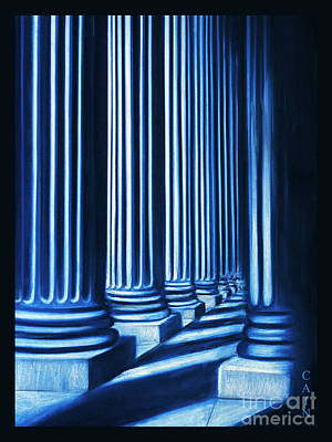 Painting - Blue Columns Original Pastel Art by William Cain