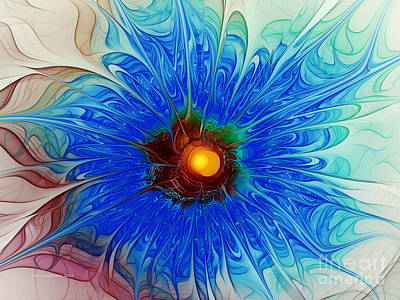 Digital Art - Blue Cornflower by Karin Kuhlmann