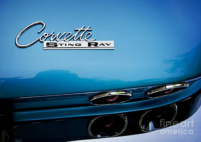 Photograph - Blue Corvette Sting Ray Rear Emblem by Ken Johnson