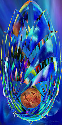 Digital Art - Blue Cosmic Egg - Abstract by rd Erickson
