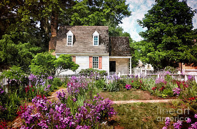 Blue Cottage Art Print by Shari Nees