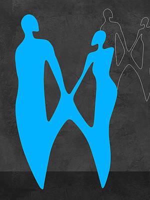 Dating Mixed Media - Blue Couple by Naxart Studio