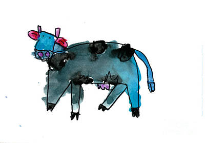 Painting - Blue Cow by Andrew Yap Age Six