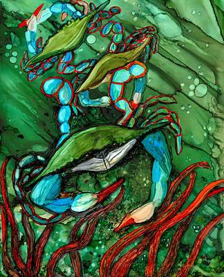 Alcohol Ink Painting - Blue Crab Ballet by Elaine Hodges