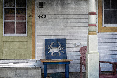 Blue Crab Chair Art Print
