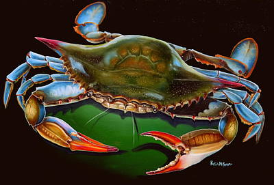 Blue Crab Open Claw Art Print by Phyllis Beiser